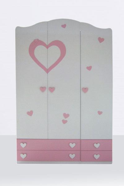 armadio 3 ante rosa